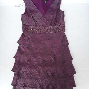 R & M Richards burgundy cocktail dress with ruffle